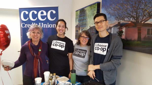The BC Cooperative Association team Patrice Pratt, Katherine Levett, Tasha Nathanson, and Brad Boyce at the CCEC Credit Union pancake breakfast.